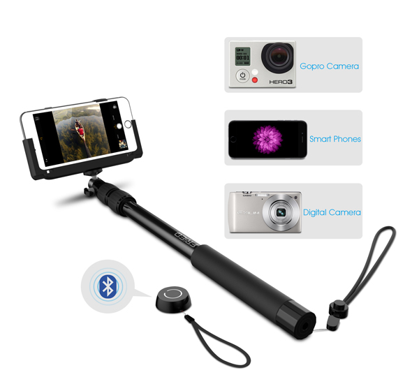 frieq pro 3 in 1 self portrait monopod extendable wireless bluetooth selfie stick with built in. Black Bedroom Furniture Sets. Home Design Ideas