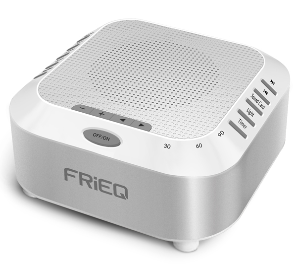 FRiEQ Sleep Sound Machine - Soothing White Noise Maker for Sleep, Study, Babies and Travel - Features 5 Noise Options and Nightlight Mode - Easy to Use, Includes SD Card Slot and USB Charging Port