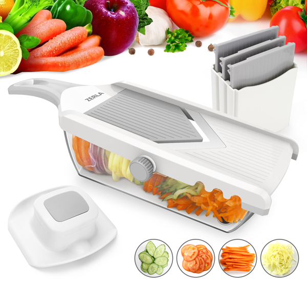 ZERLA Adjustable Mandoline Slicer, Grater & Julienne Slicer Cutter for Vegetable, Fruit, Onion,   and Cheese (White)