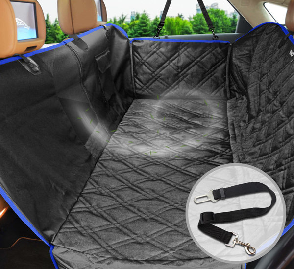 FRiEQ Dog Car Seat Covers Back Seat Cars/Trucks/SUV,Waterproof & Scratch Proof & Nonslip   Backing & Hammock Mesh Window, Side Flaps Dog Seat Belt