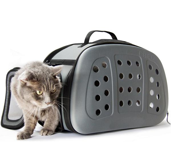 Frieq Foldable Hard Cover Pet Carrier Shoulder Strap Pet