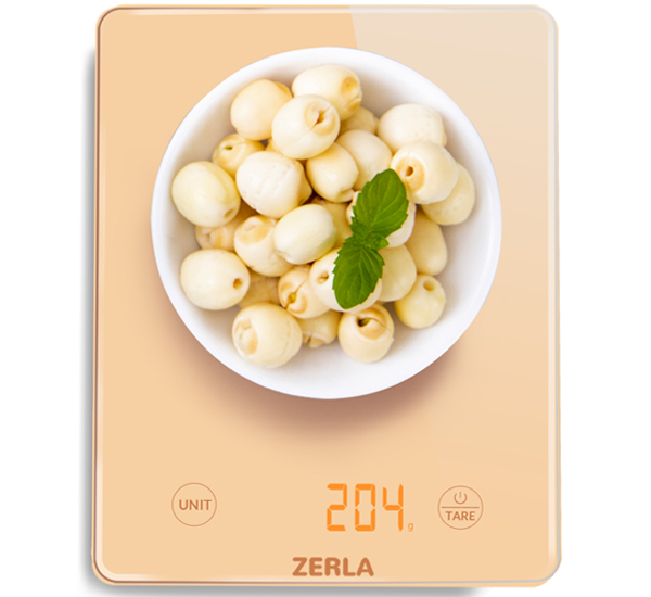 ZERLA Digital Kitchen Scale — Versatile Food Scale with LED Display for Weighting Liquids or Foods — Accurate   Weight Scale within .05 oz. — Customized Minimalist Gold Ultra Slim Scale for Baking